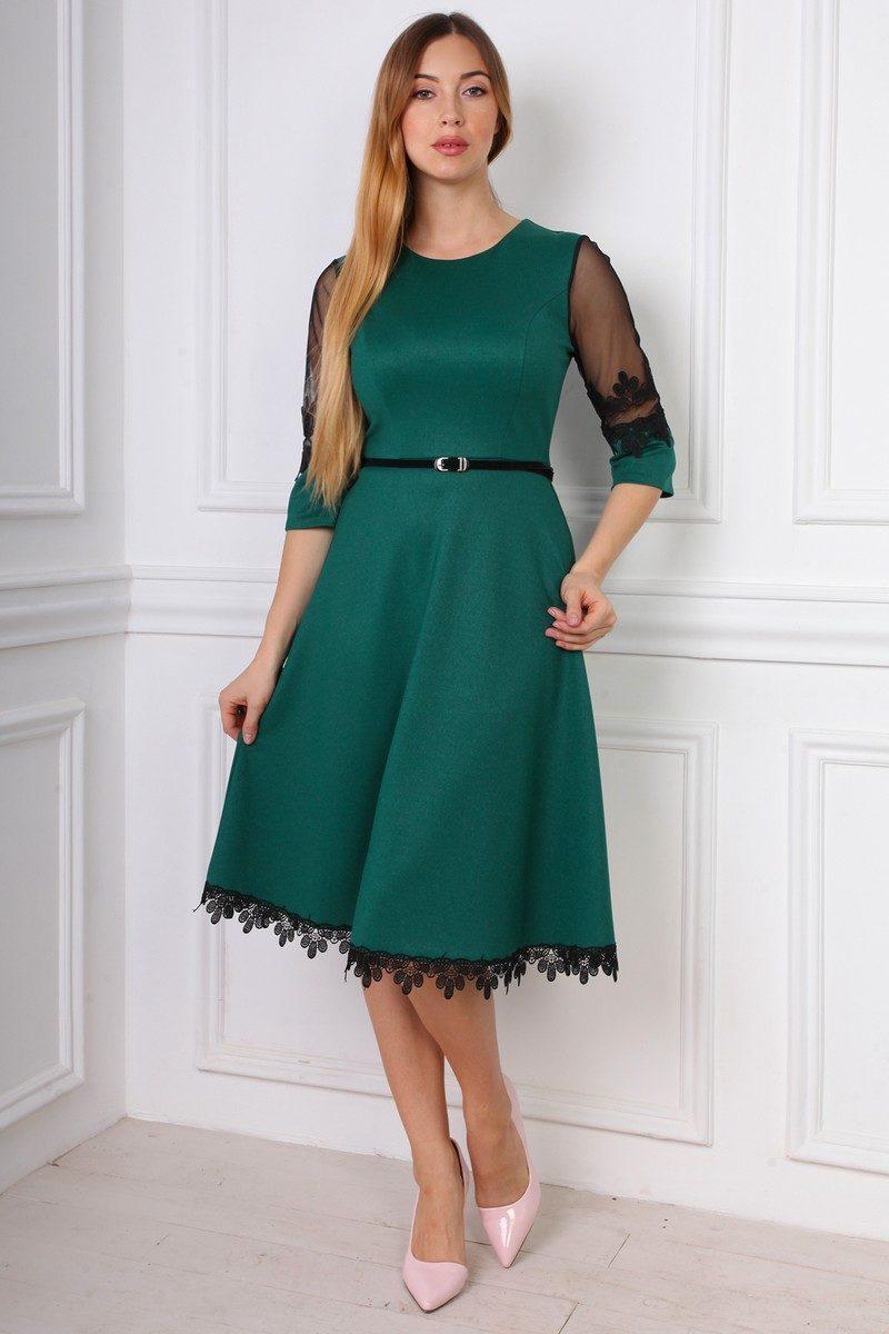 Лаконичное бутылочное платье креп-дайвинга - Оптово - розничный магазин  одежды