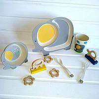 Детская бамбуковая посуда, детский бамбуковый набор посуды с разделителем Слон