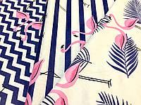 Набор тканей для пэчворка «Dark blue Flamingo »