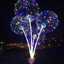 Воздушный светящийся шар  на палочке с гирляндой в комплекте
