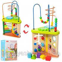 Деревянная игрушка Развивающий центр лабиринт сортер счеты, MD 1319, 009347