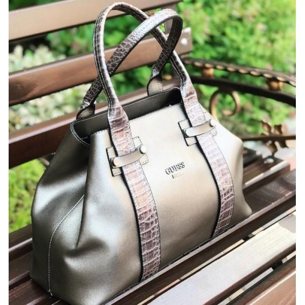 Женская классическая сумочка Guess (Гесс), серый цвет