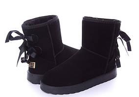 Уггі Valerie короткі чорні зі шнурівкою
