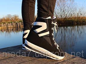 Женские зимние дутики на шнурках черные, фото 2