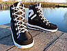 Женские зимние дутики на шнурках черные, фото 4