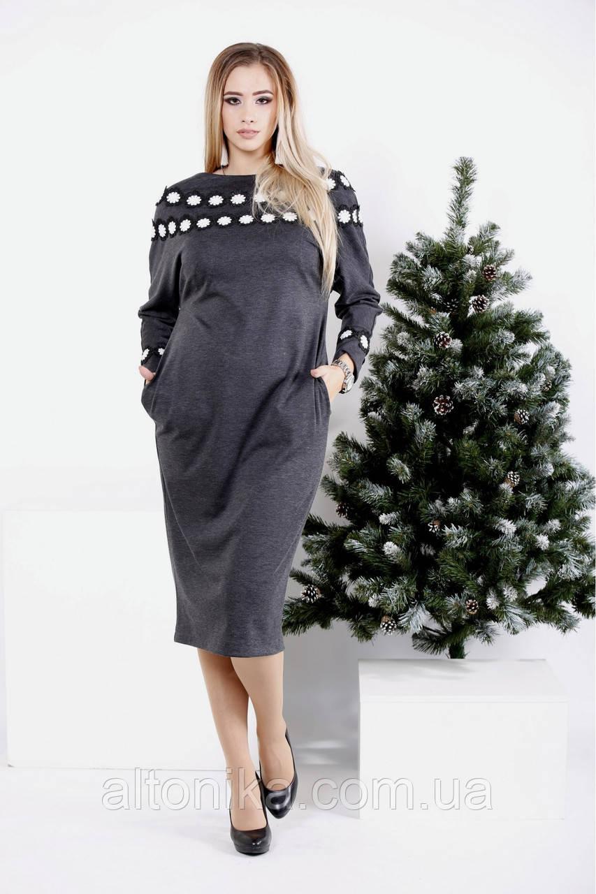 Трикотажное женское платье с кружевом | 42-74