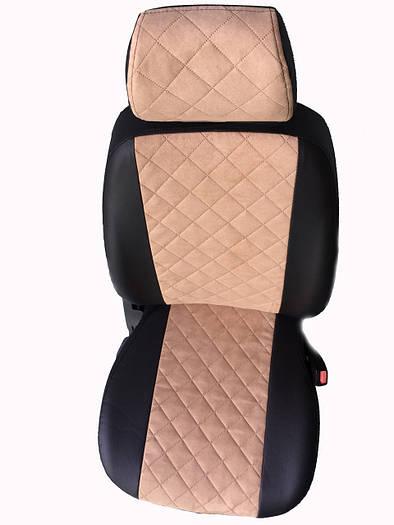 Чехлы на сиденья ГАЗ Москвич 2141 (универсальные, экокожа+Алькантара, с отдельным подголовником)
