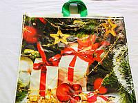 Цветной полиэтиленовый пакет с петлевой ручкой 60*50 новый год