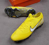 Бутсы Mercurial Vapor 360 Elite Neymar Jr FG, желтые, без носка, пластиковые шипы, беговые, футбольные