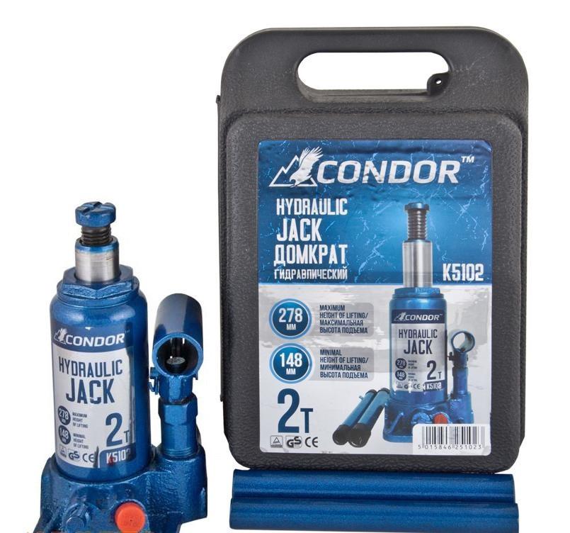 Домкрат бутылочный  2т 150/280мм чемодан CONDOR  K5102