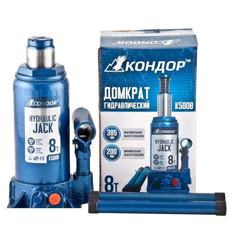 Домкрат бутылочный  8т 200/385мм коробка CONDOR K5008