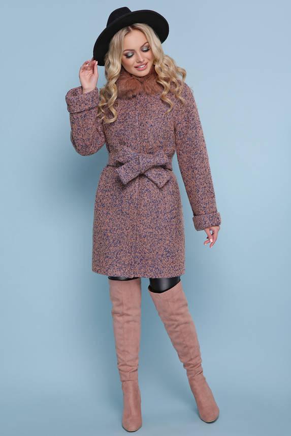 Женское зимнее пальто с меховым воротником короткое, фото 2
