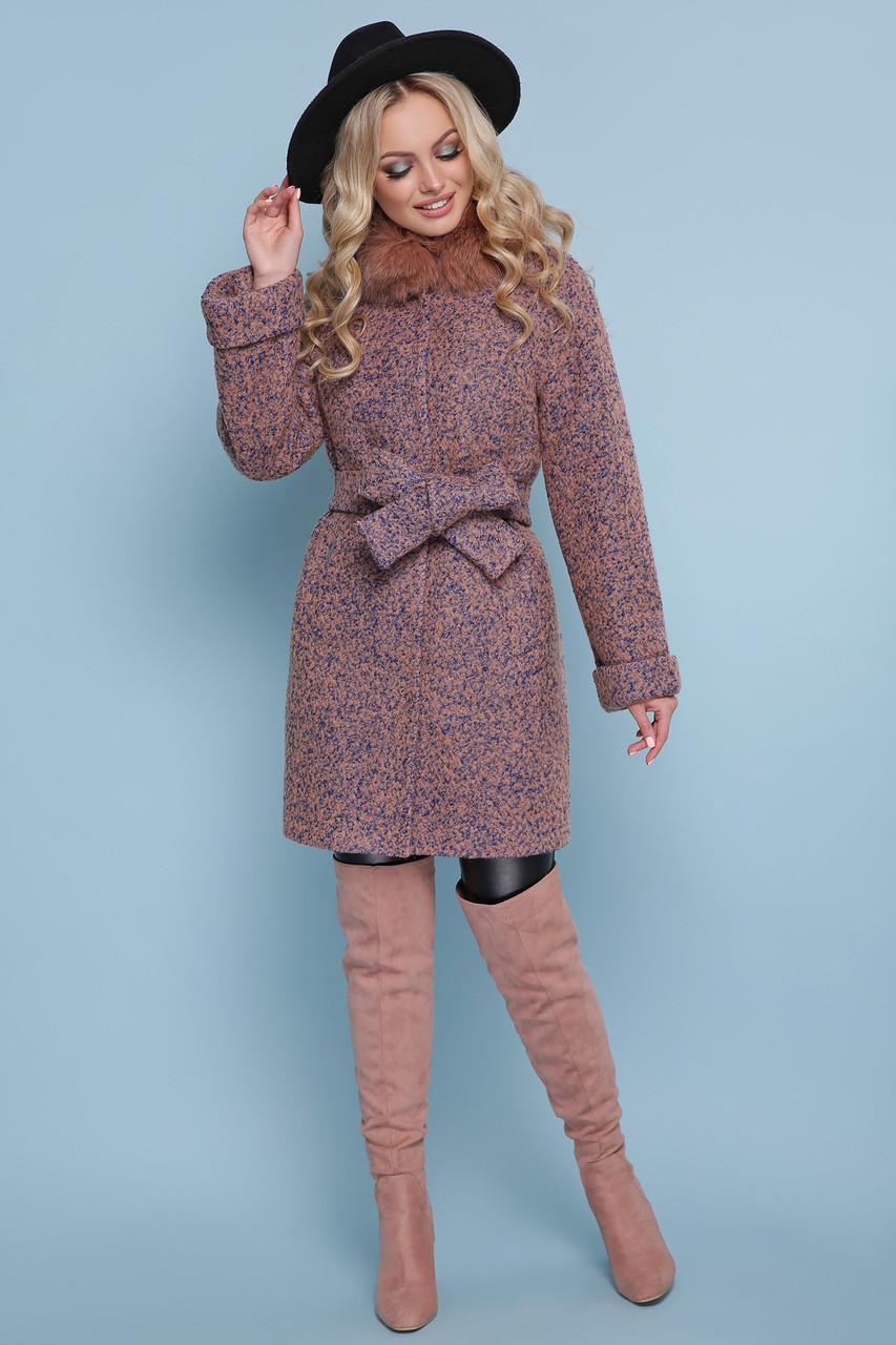 Женское зимнее пальто с меховым воротником короткое