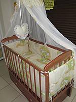 В наличие без балдахина! Постельное бельё в детскую кроватку Мишки на лестнице беж. 6 эл