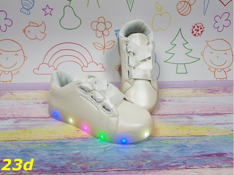 Детские кеды кроссовки с ленточками светящиеся Led подсветка р. 31