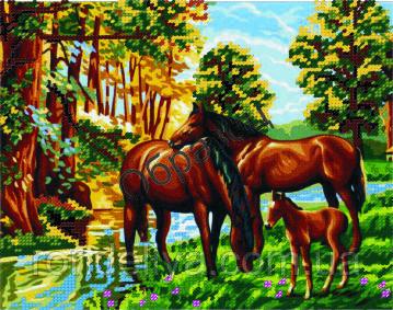 Схема для вишивки бісером «Коні»