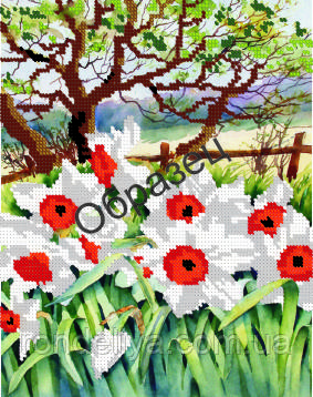 Схема для вышивки бисером «Белые цветы»