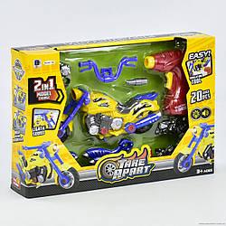 Мотоцикл - конструктор 661-186 свет, звук, шуруповерт на батарейке, 20 дет. детям от 3 лет