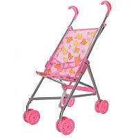 Коляска 9302 W для куклы, железная, зонтик, двойные колеса,поворот, 55-49-26см, высота до ручки 53 см,5 видов
