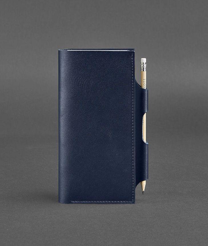 Кошелек-клатч кожаный для документов темно-синий (ручная работа) BN-TK-3-navy-blue