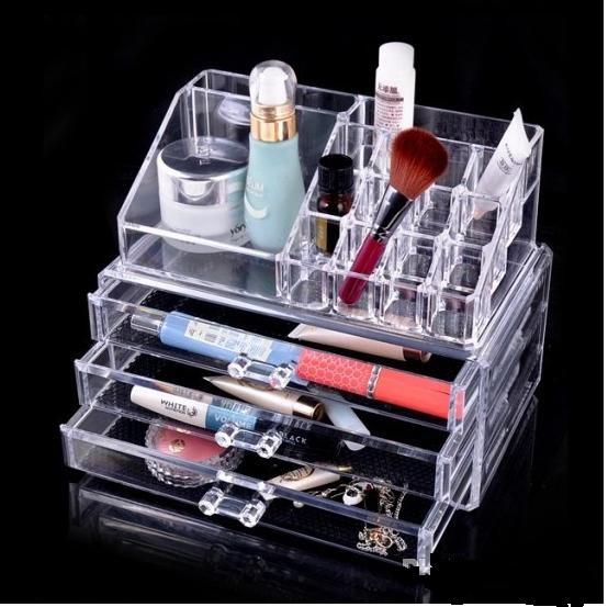 Пластиковый органайзер-комод двухуровневый для косметики и аксессуаров