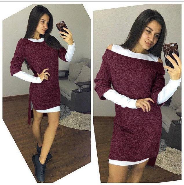 dc1a96c31dd Модное теплое платье-двойка по фигуре длиннее сзади с разрезами на плечах