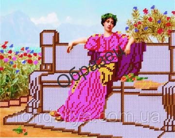 Схема для вышивки бисером «Девушка в саду»