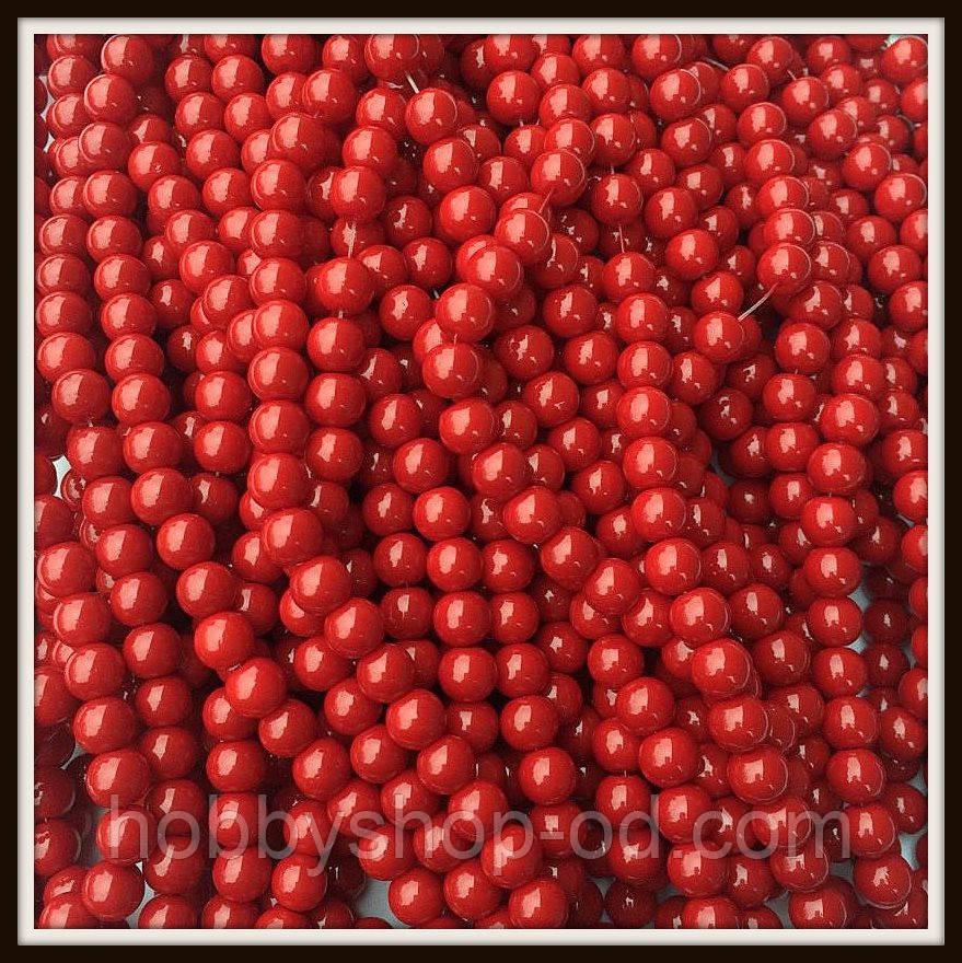 Бусины керамика 8 мм красные ( 100-110 шт на нитке)