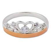 Серебряное кольцо с золотой пластиной 30503