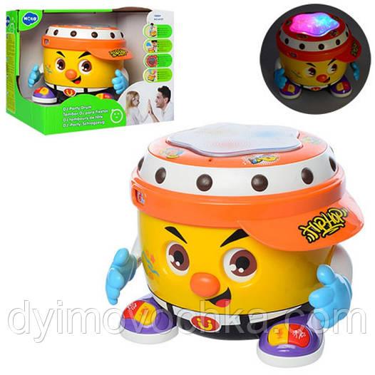Детский барабан 6107, 16 см, музыкальный, танцует, 3D свет feef7a2fb88