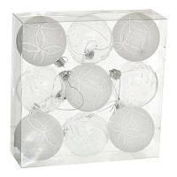 Набор елочных шаров с узором Jumi (9 шт),  6 см, белые/прозрачные