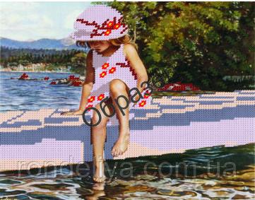 Схема для вишивки бісером «Дівчинка біля озера»