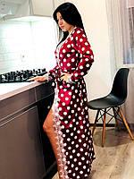 Длинны велюровый халат с кружевом