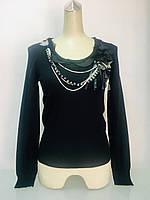 Свитерl женский черный мериносовая шерсть с украшением ., фото 1
