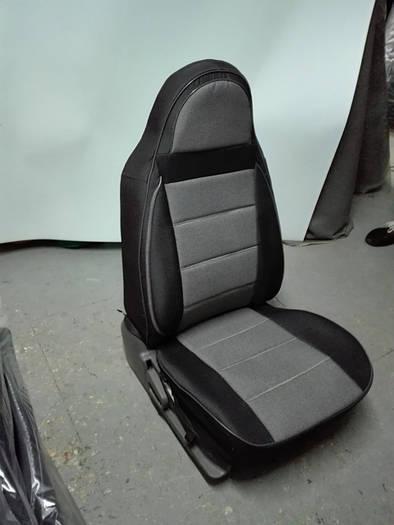 Чехлы на сиденья Фольксваген Кадди (Volkswagen Caddy) (1+1, модельные, экокожа+автоткань, отдельный подголовник)