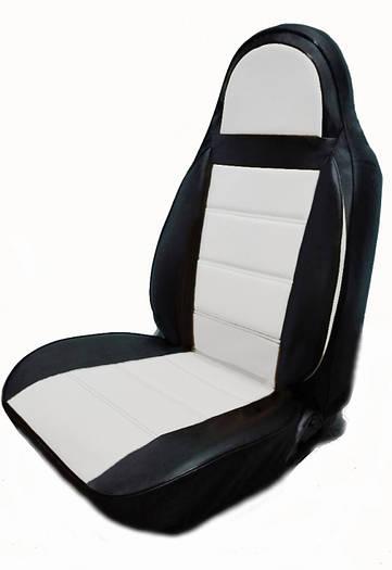 Чехлы на сиденья Фольксваген Кадди (Volkswagen Caddy) (1+1, универсальные, кожзам, пилот)
