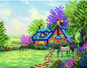Схема для вышивки бисером «Домик в деревне»