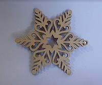 """Дерев'яна новорічна іграшка """"Сніжинка"""" (упаковка 5 шт) № 7"""