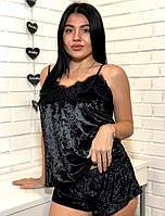 Черный велюровый комплект майка с шортами для сна
