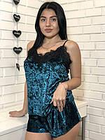Велюровые женские пижамы, бархатная майка с кружевом и шорты.