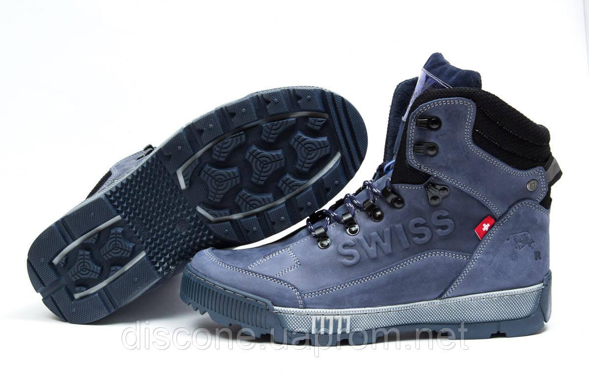 Зимние мужские ботинки 30642 ► Switzerland Swiss, темно-синие ✅SALE! % ► [ нет в наличии ]