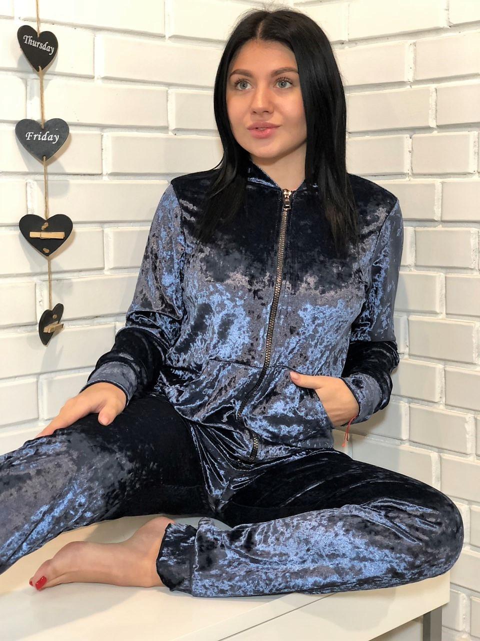 Молодежный велюровый костюм на змейке: мастерка и штаны темно-серого цвета