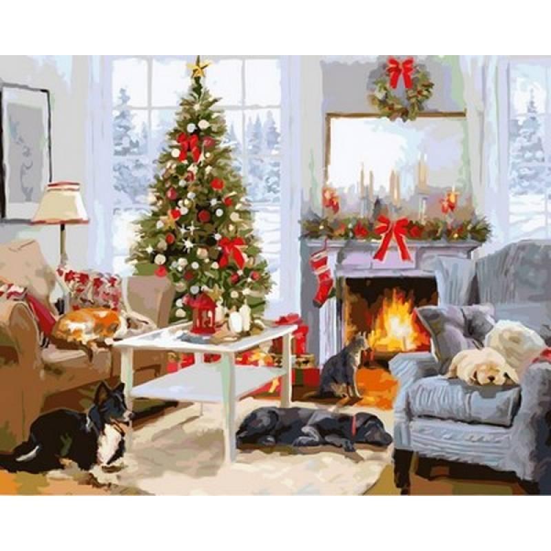 """Раскраска по номерам 50х40см Babylone Turbo """"В ожидании Рождества"""""""