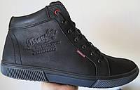 Мужские зимние кеды ботинки в стиле Wrangler натуральная кожа в спортивном стиле обувь  сапоги Вранглер черные