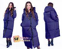 Женское длинное пальто-пуховик, размер 42-56