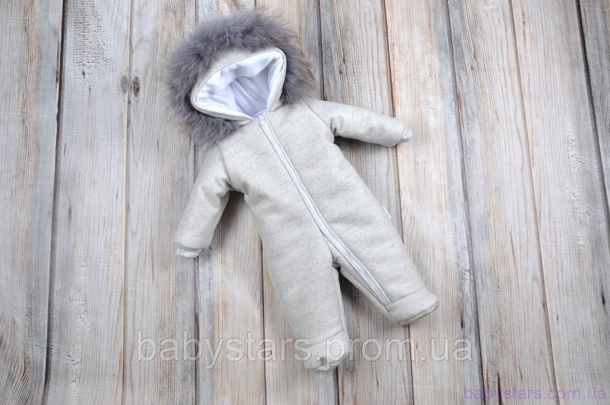 Кашемировый комбинезон для новорожденного, серый