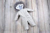 Кашемировый комбинезон для новорожденного, серый, фото 1