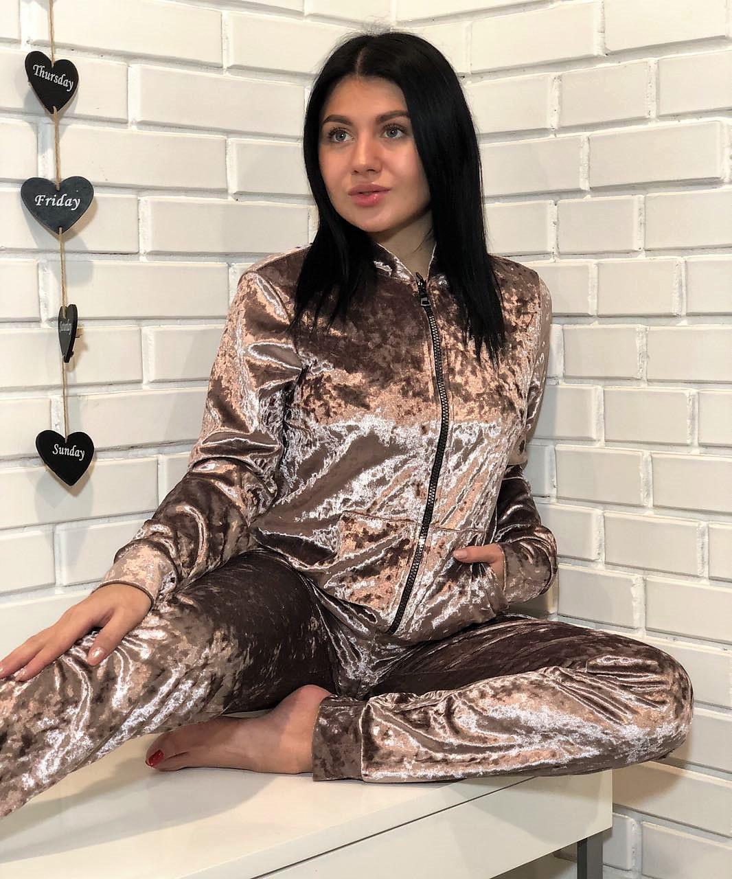 Модный велюровый костюм для дома ТМExclusive: мастеркаи штаны цвета пудра