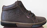 Мужские зимние кеды ботинки в стиле Wrangler натуральная кожа в спорт стиле обувь сапоги Вранглер коричневые