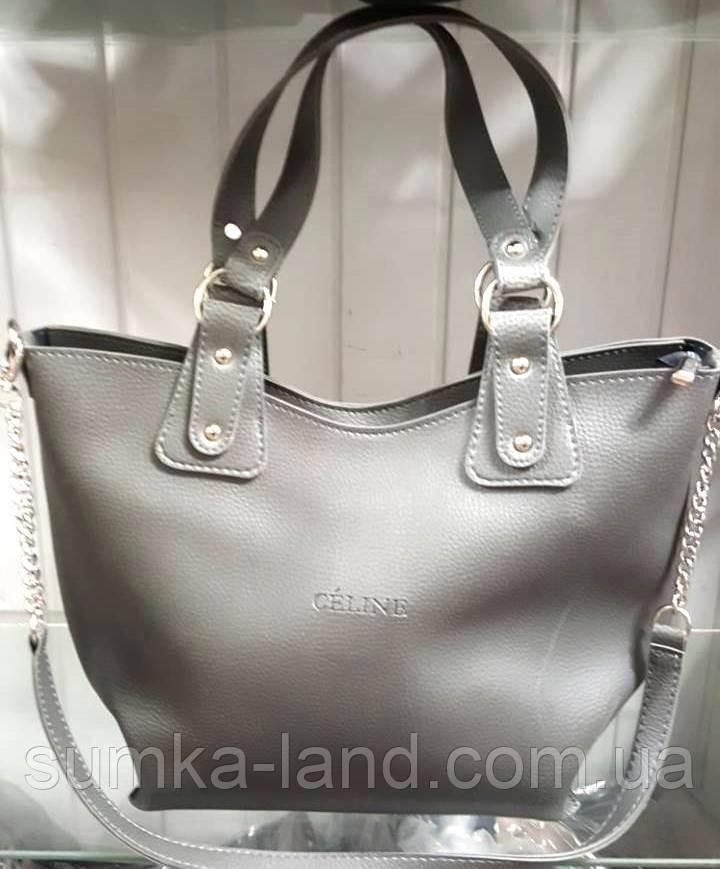 Женская серая сумка 2 в 1 Celine класса Люкс 31*33 см (с клатчем)